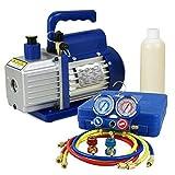 F2C 4CFM 1/3 HP Air Vacuum Pump HVAC Refrigeration KIT A/C Manifold Gauge Set Combo