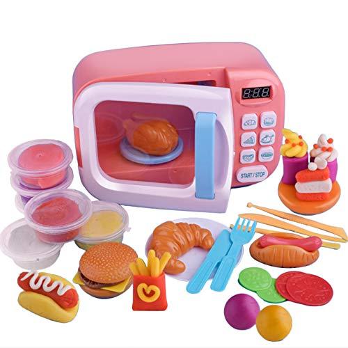 dailylime Juguete de microondas con luz de sonido para niños, Cocina realista fingir Juego Set con 6 platos de arcilla de color de bricolaje y realistas de comida de plástico para various occasions