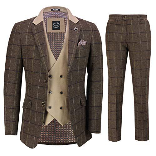 Xposed Männer 3 Stück Tweed-Anzug mit Fischgrätmuster Braun prüft Retro eleganten Maßgeschneidert[SUIT-EVAN-TAN-36]