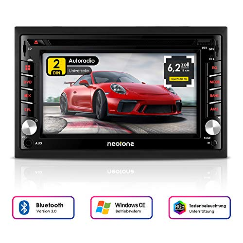 NEOTONE NDX-300W | Navigation mit Europakarten | universelles 2DIN Autoradio | 6.2 Zoll | Radarwarnsystem | Bluetooth | Touchscreen | DVD-Player | 16GB MicroSD inklusive