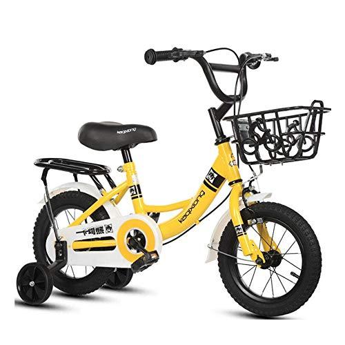 FUFU Bicicleta Niños 2-13 Años De Bicicletas Niño 12/14/16/18 Pulgadas Niño Niña De Bicicletas, Rosa, Amarillo, Verde (Color : Yellow, Size : 12in)