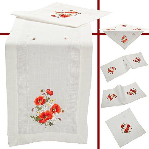 Quinnyshop Coquelicot Rouge Fleur Pâquerette Printemps Broderie Nappe Chemin de Table env. 40 x 85 cm Polyester, Blanc