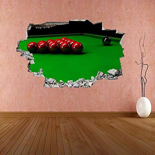 Pegatinas de pared Bolas de mesa de billar deportes etiqueta de la pared mural calcomanía decoración de la oficina en casa Póster Arte 3D Mural 50x70cm