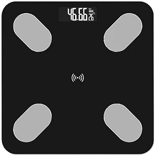 KLT Báscula de pesaje Báscula de grasa corporal Báscula de Piso Científica Inteligente Electrónica LED Digital Peso Baño Báscula Bluetooth App 180Kg Negro