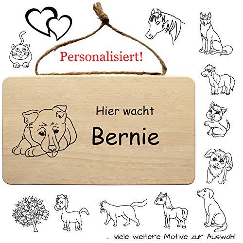 Tierschild aus Holz mit individuelle Gravur - Schild für Hund, Katze, Pferd und weitere Tiere - mit Kordel zum Aufhängen - Wandschild, Türschild, Holzschild, Wandbrett, Holztafel (Tiere)