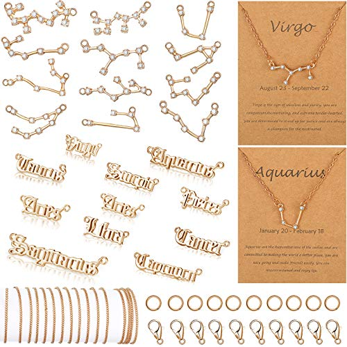 96 Piece Zodiac Charm Set Include 24 Zodiac Letter Word Pendant 24 Rhinestone Constellation Charm with 48 Zodiac Necklace Display Card 16.4 Feet Jewelry Chain 20 Lobster Clasps 200 Jump Ring (Golden)
