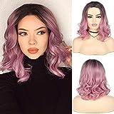 Peluca corta rizada ondulada púrpura para mujer peluca sintética resistente al calor disfraz de Cosplay peluca de fiesta de Halloween con gorro de peluca