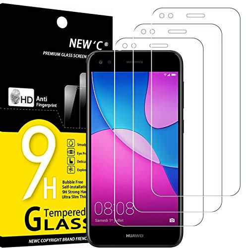 NEW'C Lot de 3, Verre Trempé Compatible avec Huawei Y6 Pro 2017, Film Protection écran sans Bulles d'air Ultra Résistant (0,33mm HD Ultra Transparent) Dureté 9H Glass