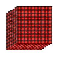 6 Sheets 12×12 Inch Cloth Fabric Buffalo Plaid Printed Iron-on Sheet, Black and Red Plaid Adhesive Thermal Transfer Heat Transfer Cloth Sheets