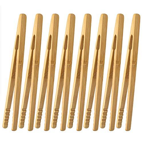 HC 8 Stück Bambus Zange Toast Küchenzange 18cm Kleine Bambus Zange Grillzange Holz für Küche, gegrilltes Fleisch, Gebäck, Brot