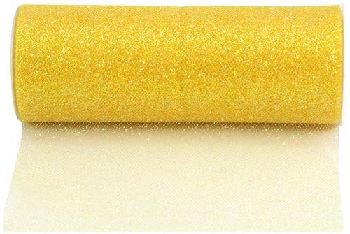 Kel-Toy Glitter Tulle Fabric, 6-Inch by 25-Yard, Lemon Yellow