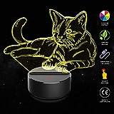 3D LED Licht Nachtlicht Optische Täuschung Lampe Schreibtischlampe Tischlampe 7 Farben ändern...