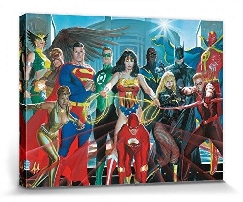 1art1 Liga De La Justicia - Superman, Wonder Woman, Batman Cuadro, Lienzo Montado sobre Bastidor (80 x 60cm)