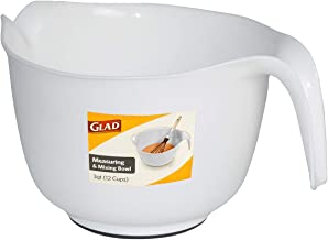 Glad Mixing Bowl with Handle – 3 Quart | Heavy Duty Plastic with Pour Spout and Non-Slip Base | Dishwasher Safe Kitchen Su...