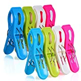 MCOMCE Beach Towel Clips for Pool Chairs, Plastic Beach Chair Clips, Towel Clips for Beach Chairs Cruise, Fashion Bright Color Pool Chair Clips, 8 Pieces Oversized Beach Towel Clips