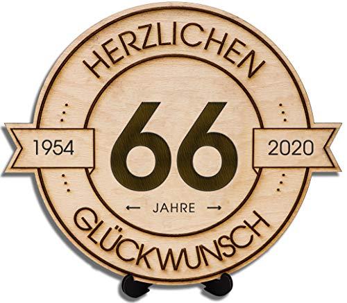 DARO Design - Holzscheibe graviert - 66 Jahre - Größe 20cm - Geschenk zum Jubiläum, Geburtstag, Jahrestag - Herzlichen Glückwunsch