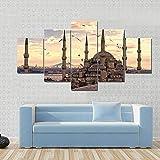 NNNLX Cuadro sobre Lienzo - 5 Piezas - la Mezquita Azul de Estambul - Impresión En Lienzo - Impresión Pinturas Murales Decor Dibujo con Marco para Aniversario