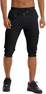 FASKUNOIE Men's Joggers 3/4 Casual Long Shorts Workout Gym Capri Pants with 4 Pockets