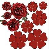 6pcs/Set 3D Rose Flower Metal Die Cuts,Wedding Flower Leaf Leaves Cutting Dies Cut Stencils for DIY Scrapbooking Album Decorative Embossing Paper Dies for Card Making