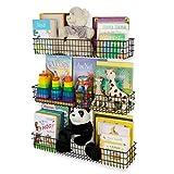 Wall35 Kansas Wall Mounted Black Bookshelf for Kids' Room Decor, Metal Wire Storage Basket Set of 3 (Varying Sizes)