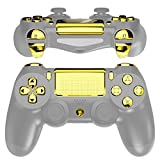 eXtremeRate Chrome Gold Classical Symbols Replacement Full Set Buttons for Playstation 4 PS4 Slim PS4 Pro CUH-ZCT2 Controller - Compatible with PS4 DTFS LED Kit - Controller NOT Included