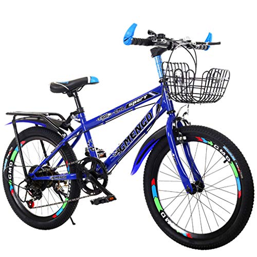 YUKM Children's Mountain Bikes, Variable Speed Bikes, High-Carbon Steel Frame with Tailstock and Basket,Blue,22 inches