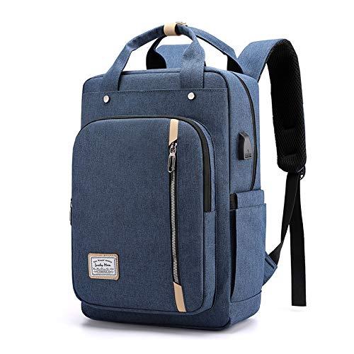 REBKW Mochila escolar para hombre para portátil 15, impermeable, estilo británico, bolsa de ordenador con conector USB para auriculares, color gris (azul, 28 x 41 x 16 cm)