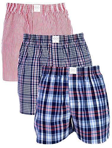 MG-1 3 Stück Webboxer Boxershorts American Shorts Herren Sparpaket S - 6XL Farbwahl, Grösse:S - 4-48, Farbe:Design 015