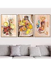 HPOP 1 Set Triptych Watercolor Apple Orange Fruit Wine Glass Wall Art Canvas Painting 50x70cm SS(Customizable)