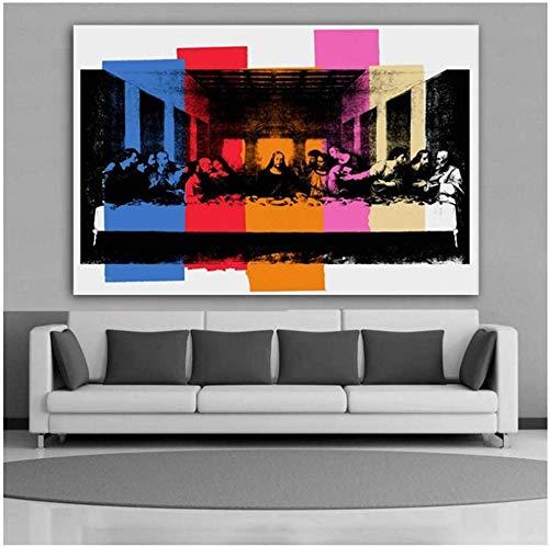 """Surfilter Impresión en lienzo DETALLE DE LA ÚLTIMA CENA Pintura en lienzo Arte Cuadro de pared para sala de estar Decoración moderna 27.5"""" x 39.4"""