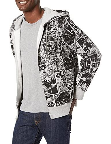Amazon Essentials Men's Disney Fleece Full-Zip Hoodie Sweatshirts Sudadera, Star Wars Comic, XL