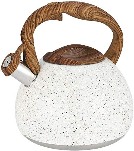 Ruyihoff Stainless Steel Stove Top Speckled White Whistling Kettle 3L, Kitchen Teapot with Wood Handle and Tall Whistle, for Gas Stove Induction Cooker