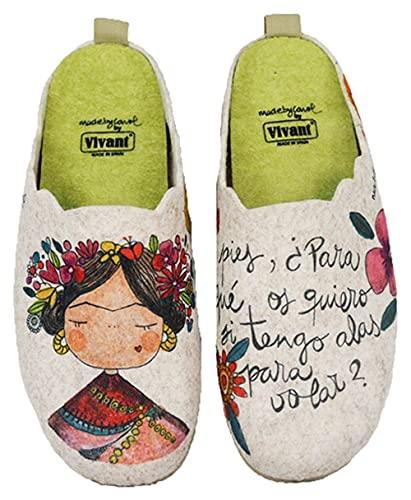 Zapatillas casa mujer fieltro Frida cómodas frase bonita - Garantía de calidad (39 EU, numeric_39)
