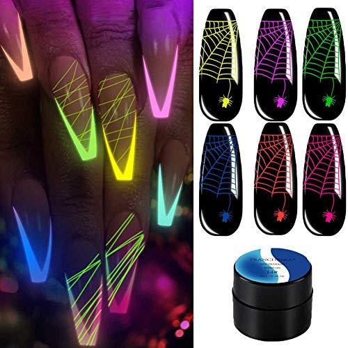 chinejaper Fluoreszierender Gel-Nagellack, Gel Nail Polish Kit Leuchtet Im Dunkeln UV-LED Nagellack Set, 6 Farben
