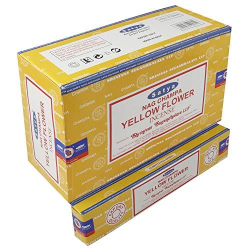 Satya Nag Champa Amarilla Flor Agarbatti | Varillas de incienso Masala enrolladas a mano | 12 paquetes de 15 gramos cada uno en una caja | Producto de calidad