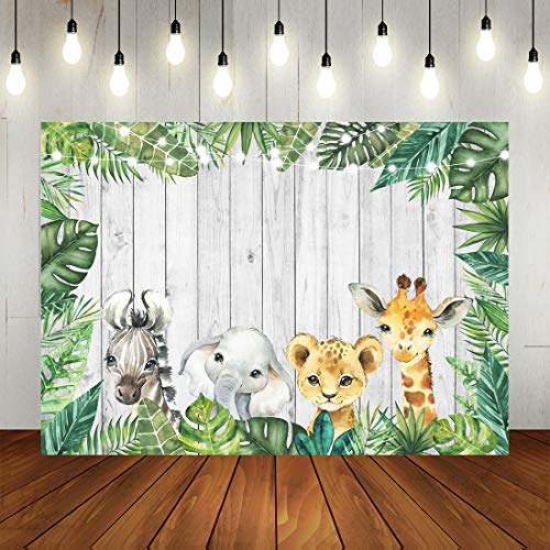Woodland Baby Shower Backdrop Jungle Animals Birthday Photography Background Watercolor Safari Animals Wild One Birthday Newborn Baby Party Decorations Supplies Photo Studio Props 7x5ft