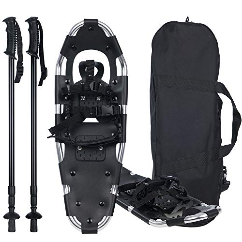Inhe 21 Inches Snow Shoes for Women Men Girls Boys Kids, Aluminum Terrain Lightweight Snowshoes with Trekking Poles and Carrying Tote Bag