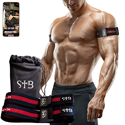 Spartan Training Bands Premium BFR │ Works for Arms Or Legs │ Strong, Elastic, Blood Flow Restriction Occlusion Straps to Help You Gain Lean Muscle Without Lifting Heavy Weights │ Pinch Free Buckle