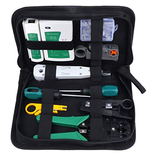 HSEAMALL 11-in-1 Kit de herramientas de reparación de redes, probador de cables LAN para mantenimiento de computadoras, alicates para prensar cables, cortador de pelacables