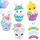Bestus Easter Cupcake Wrappers and Toppers Colorful Bunny, Eggs, Chicken and Sheep Designs for Birthday Party Decorations, School Classroom Party Favor Supplies, Spring Home Party