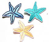 Nipitshop Patches Set 3 Beach Scene Starfish Patch Beautiful Starfish Iron On Embroidered Applique Patch For Clothes Backpacks T-shirt Jeans Skirt vests scarf Hat Bag