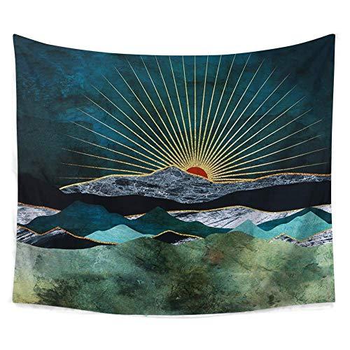 Tapisserie Murales Vallée lever du soleil Tenture Murale Mandala Indien Bohème Hippie Couverture Décoration Murale pour Chambre Salon Serviette de Plage (Coloré, 150x130CM)
