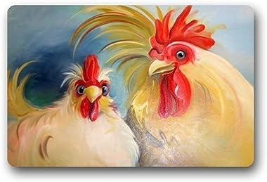 Funny Hen Rooster Couple Chicken Art Doormats Entrance Mat Floor Mat Door Mat Rug Indoor/Outdoor/Front Door/Mats Rubber Non S
