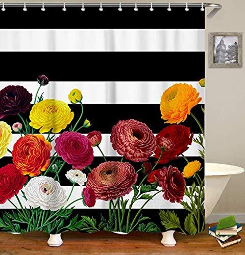 LIVILAN schwarz/weiß Streifen Duschvorhang, Set, wasserdichtes Gewebe, Badvorhang. 70.8