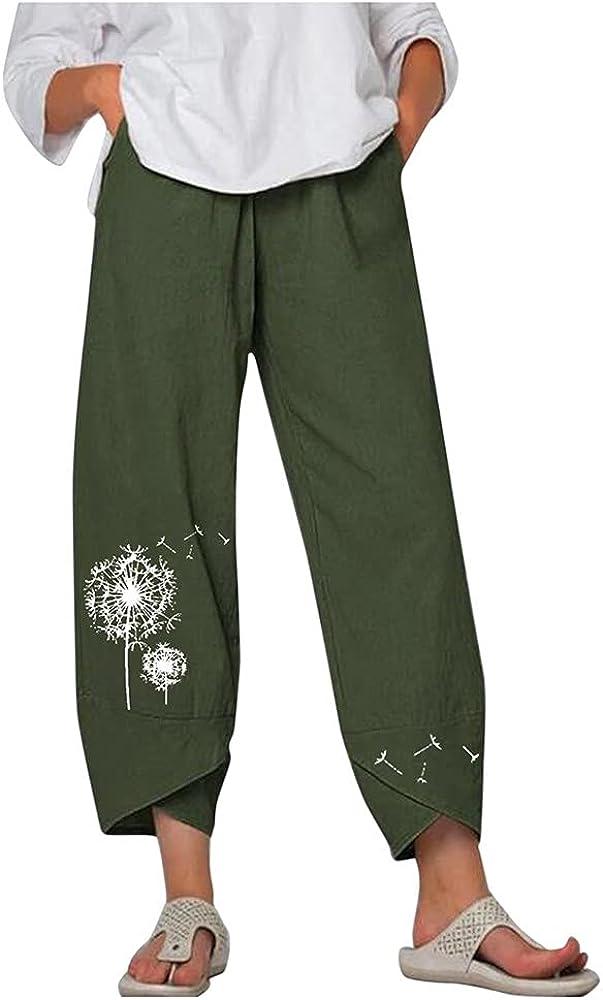 Women Casual Pants Summer Elastic Waist Wide Leg Pants Vintage Floral Printed Trousers Female Loose Pantalon Plus Size Штаны