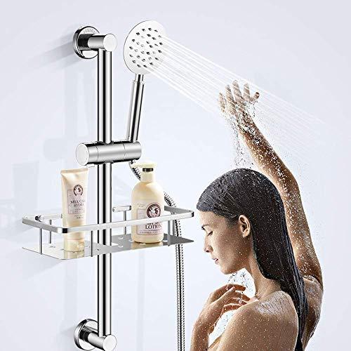 Adjustable Shower Head Holder For Slide Bar,Universal 18-25MM O.D. Rail Head Bracket Holder for Slide Bar Slider Clamp Bathroom Replacement 360 Degree Rotation Sprayer Holder(ABS Chrome)