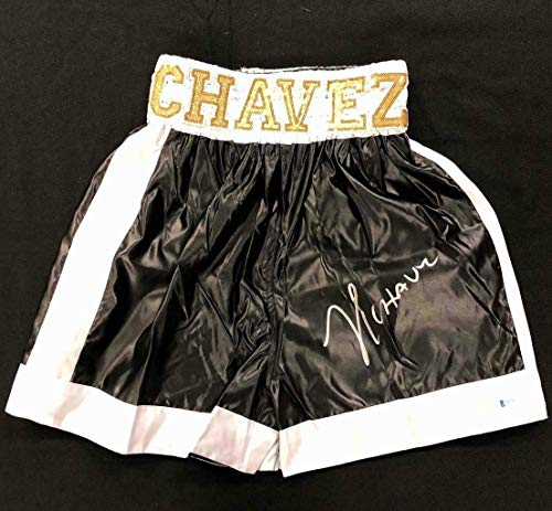 Julio Cesar Chavez signed black/gold Boxing Trunks ~ Beckett Witness BAS COA - Autographed Boxing Robes and Trunks