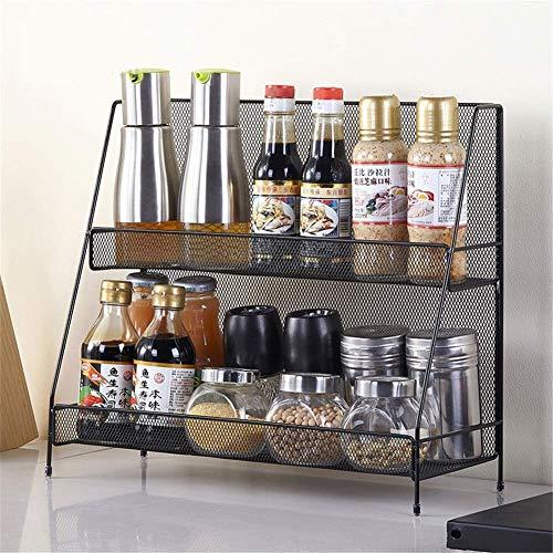 Nfudishpu 2 Tier Metallregal, Küchenarbeitsplatte Spice Rack Seasoning Organizer Bad Standing Corner Shelf-Space Save Must Have