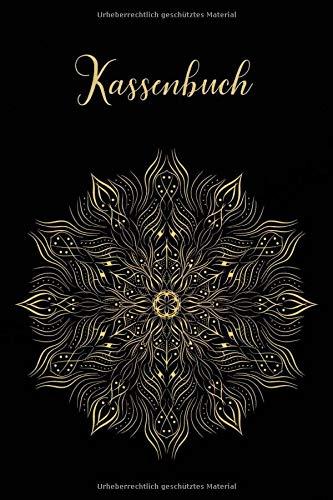 Kassenbuch: Einnahmen-Ausgaben Buch 120 Seiten A5 - Design - Schwarz Gold Mandala