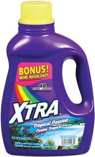 Xtra HE Liquid Laundry Detergent, Tropical Passion, 75 Ounce